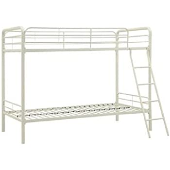 dhp twin over twin metal bunk bed white