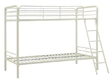 dhp twin over twin metal bunk bed white - White Twin Bed Frame