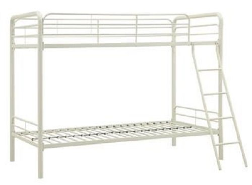 DHP Twin-Over-Twin Bunk Bed with Metal Frame and Ladder, Space-Saving Design, White (Bed Twin Bunk Over Twin White)