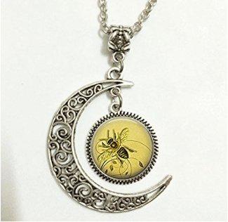 Charm Crescent Moon Honeybee Pendant, Honey Bee Necklace Honey Bee Jewelry Beekeeper Gift Apiarist Gift Honey Bee Pendant -