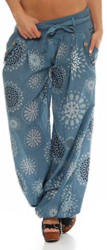 Baggy Con Estivo Donna Yoga Print Pantaloni Chiaro Aladin Boyfriend Blu Pump Sbuffo Malito Unica 3481 Taglia Harem wnAEfq7txz