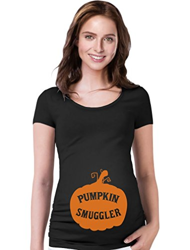 Funny Pregnancy Mom to Be Maternity Novelty T Shirt Halloween Pumpkin Smuggler Large Black -