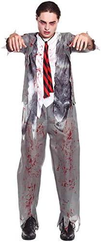 Partilandia Disfraz Zombie Colegial para Hombre Uniforme Gris (M ...
