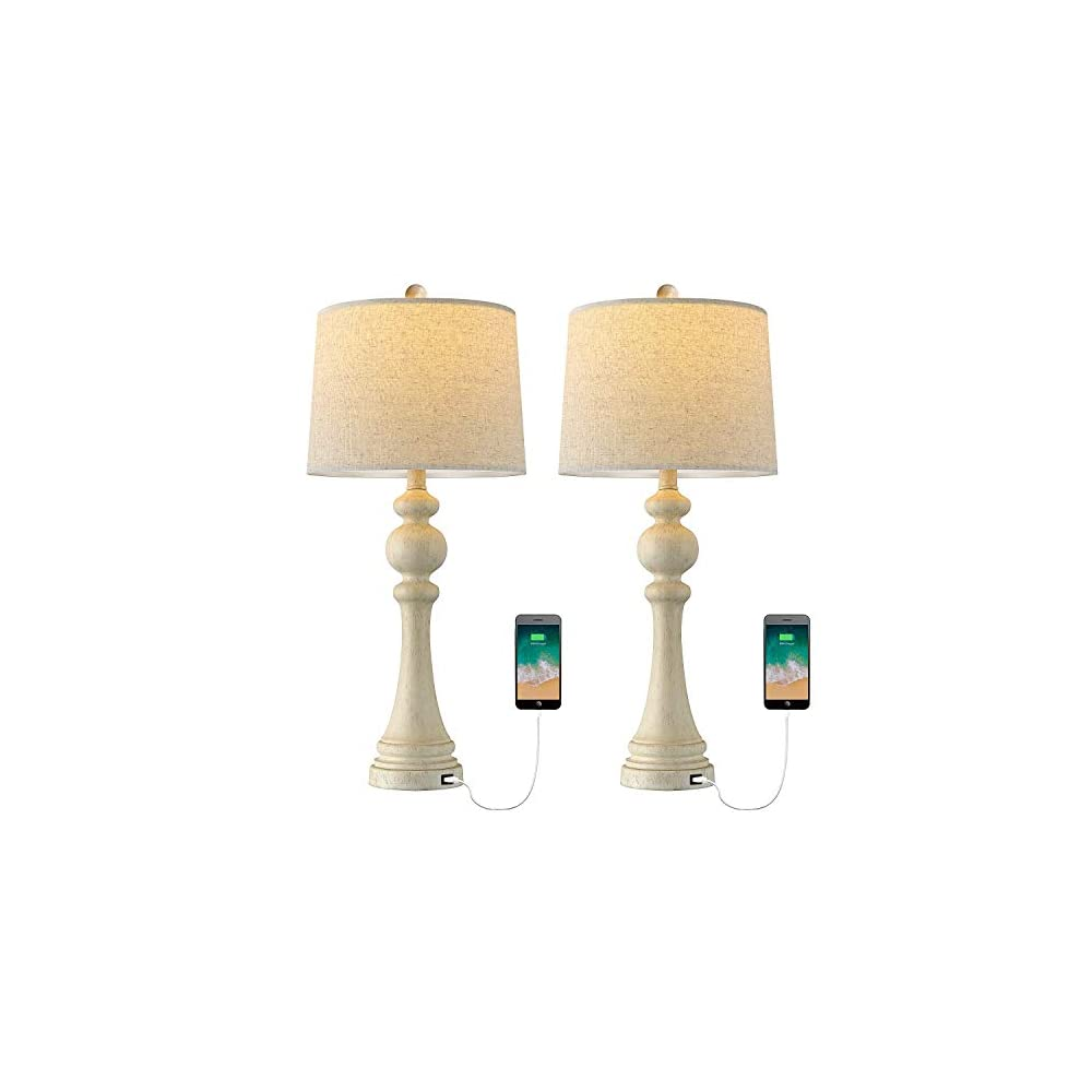 """OYEARS USB Table Lamp Set of 2 for Living Room Resin 27 3/4"""" H Retro Table Lamp for Bedroom Vintage Table Lamp Bedside Traditional Resin Table lamp Washed White"""