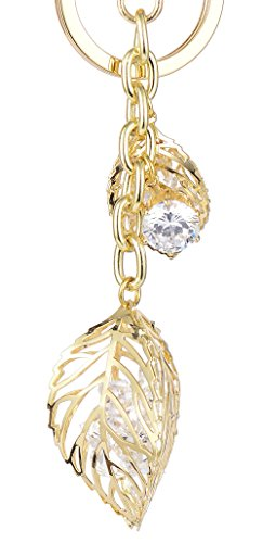Charm Purse Diamond (Keychain for Women AlphaAcc Purse Charms for Handbags Gold leaf Crystal Diamond Inside Pendant with Key Ring)