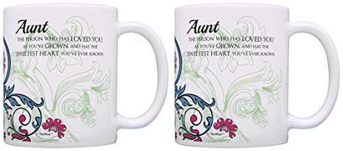 Mother's Day Gifts for Aunt Sweetest Heart Sentimental Poem Gift Ideas for Aunt Gifts from Niece 2 Pack Gift Coffee Mugs Tea Cups Floral ()