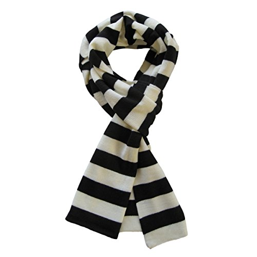 Soft Knit Striped Scarf - Black & White