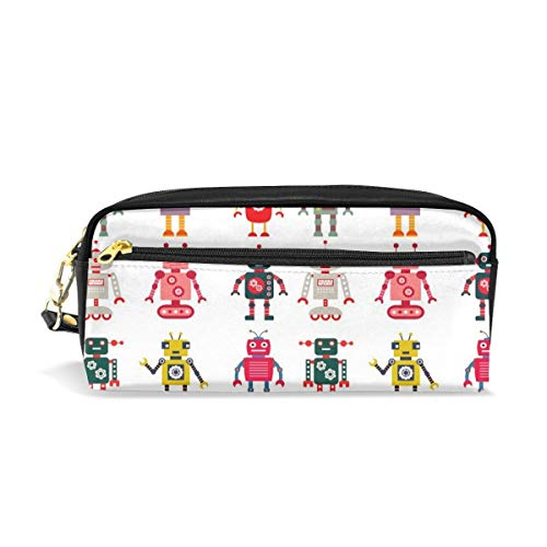 Tiffany N WhitneyRG Colorful Cartoon Set Robot Image Future Sense Interesting Mascot Makeup Bag, Portable Ladies PU Travel Cosmetic Pouch Makeup Clutch Pouch Cosmetic and Toiletries Organizer Bag