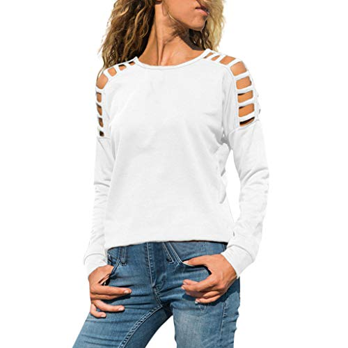 (Lovor Women's Hollow Out Cold Shoulder Long Sleeve Tops Casual Shirts Blouse Tunics(White,XL)