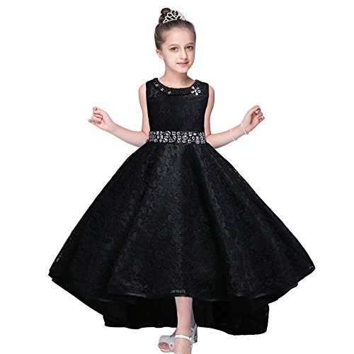 HUANQIUE Girls Wedding Pageant Dress Hi-Low Lace Bridesmaid Flower Girl Dresses Black 13-14 Years (Flower Wedding Dress)