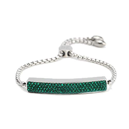 (United Elegance Stylish Designer Bar Bracelet with Exquisite Sparkling Emerald Green Swarovski Style Crystals and Adjustable Bolo)
