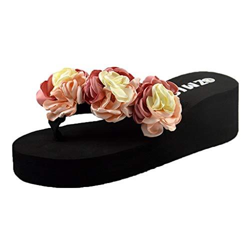 Cummerbund Lilac (Sunhusing Women's Camellia Series Summer Bohemian Flip-Flops Sandals Wedges Skid Home Slippers Sandals)