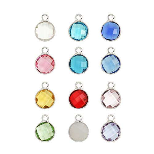 Birthstone Austrian Crystal Rings - 1 Set Mixed Birthstone Charms 6mm Austrian Crystal Beads (12 birthstone charms), Sterling Silver Plated, CCP2-S