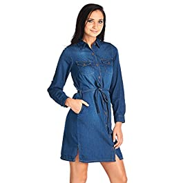 Blue Age Womens Chambray Denim Shirts Dress