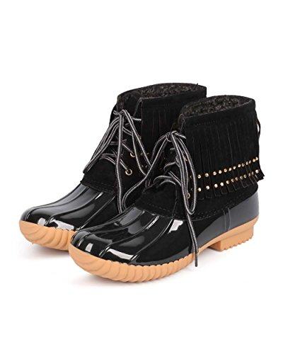 DD31 Women Boot Duck Studded Breeze Fringe Nature Mix Black Media Up Lace wv5zfE