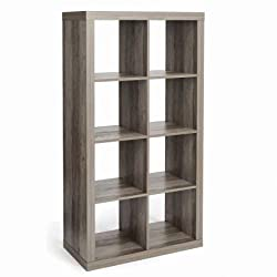 Better Homes and Gardens.. Furniture Cube Room Organizer Storage Divider/Bookcase, 8-Cube with Free Classic Style Wall Clock, Rustic Gray