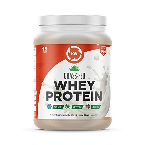 Grass Fed Whey Protein - 100% Pure, Natural & Raw - 24g High Protein - 1lb/15 Servings - Cold Processed Undenatured - Non-GMO - rBGH-Free - High Quality Wisconsin USA (Best High Quality Protein Powder)