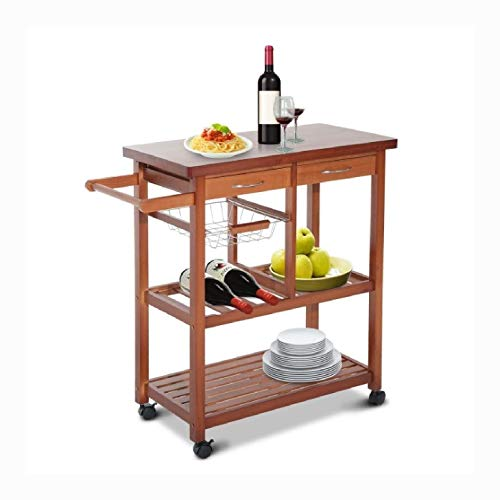 Kitchen Carts, Kitchen Island Cart with Wine Rack and Wooden Cutting Board Top