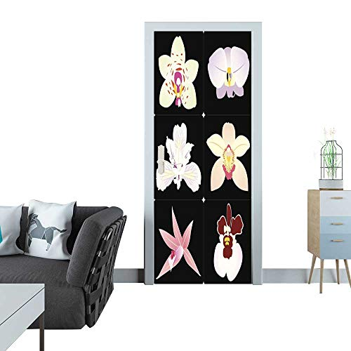 Anmaseven Door Sticker Orchid Flower Clip Art Door Sticker Mural 27x59(69x150 - Orchid Clipart