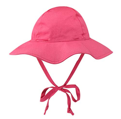 Candy Pink Sun Hat - BELLEBEAUTIE Baby Floppy Wide Brim Sun Hat Kids Breathable Cotton UPF 50+ Sun Protect Hat Candy Pink