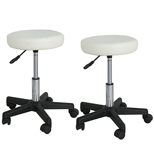 F2C Leather Adjustable Bar Stools Swivel Chairs Facial Massage Spa Salon Stool with Wheels White/Black (2PCS White) by F2C (Image #1)