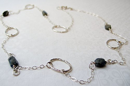 (Long Sterling Silver Necklace, Chunky Silver Necklace with Labradorite )