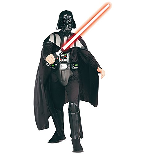 Star Wars Rubie's Darth Vader Deluxe Adult, Black, Standard Costume (Darth Vader Helmet Deluxe)