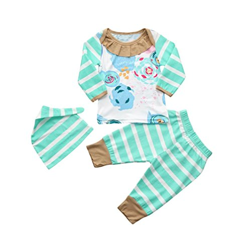 KONFA Toddler Baby Girls Floral T-Shirt+Stripes Pants+Hat,Suitable for 0-24 Months,Little Princess 3Pcs Outfits Clothes Sets (Green, 12-18 Months)
