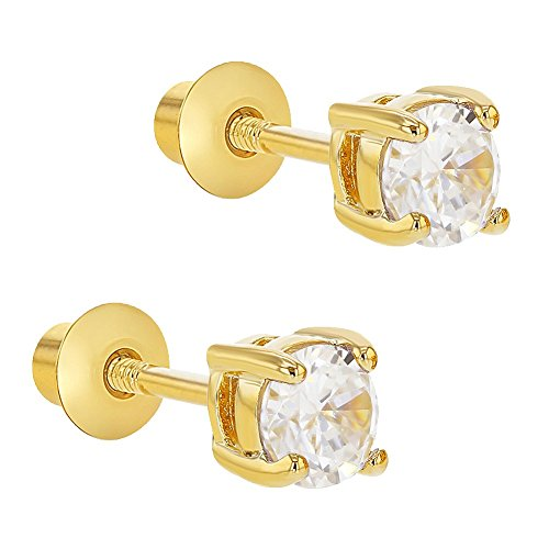 2ed45850781f In Season Jewelry - Chapado en Oro 18k Cristal Claro Aretes con Cierre de  Rosca para
