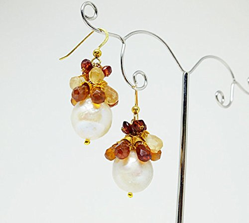 JP_Beads Gold Filled Cluster Earrings with Gemstones,Cascade of Shaded Citrine,Cascading Gemstones Earrings, Honey, Yellow, Brown Citrine briolette 3/4 mm-6/7 mm