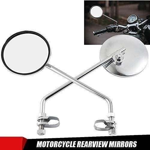 Motorcycle Rear View Side Mirror Motorcycle Rear View Mirrors Motorbike Side Mirrors Motorcycle Rearview Mirror 22mm Handlebar Chrome Round Mirror