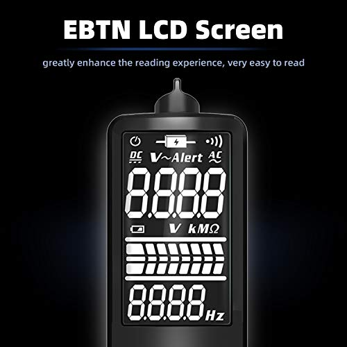 BSIDE EBTN LCD Multimeter 3-Line Display True RMS Auto-Ranging Pocket Digital Voltmeter Resistance Frequency Continuity Voltage V-Alert Tester with Analog Bar & 8 LED Indicators