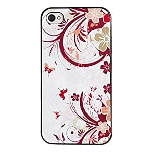 Curvy Flower Pattern PC Hard Case with Black Frame for iPhone 4/4S