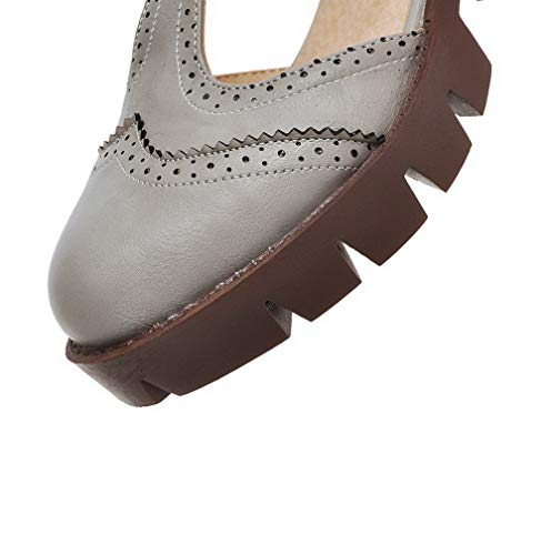 Donna FBUIDD006154 Grigio Flats Ballet Medio AllhqFashion Fibbia Puro Luccichio Tacco Bxxd8