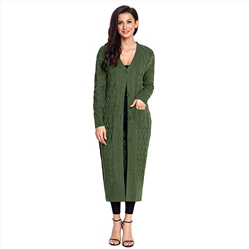 Green E Cardigan In green Costine Bottone Americano Donne A Di Wodeninek Media Trecce Europeo Lunghezza xl Inverno Maglia xqTwCAS