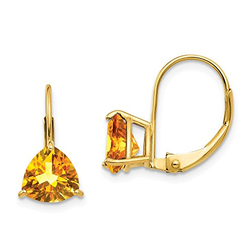 14k Yellow Gold 7mm Trillion Citrine Leverback Earrings Lever Back Drop Dangle Gemstone Prong Fine Jewelry Gifts For Women For Her