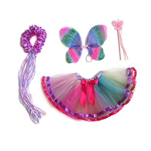4 PC Girls Fairy Monarch Princess Costume Set with Wings, Tutu, Wand & Halo (Rainbow)