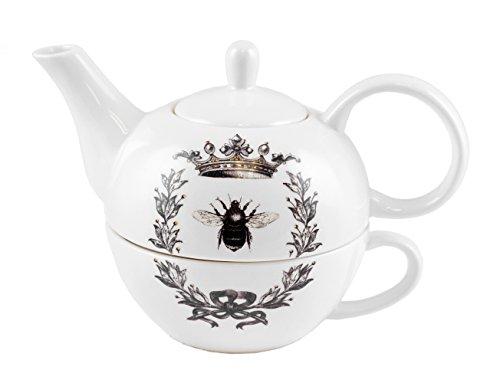 Queen Bee Teapot & Cup Stackable Tea Set of 2