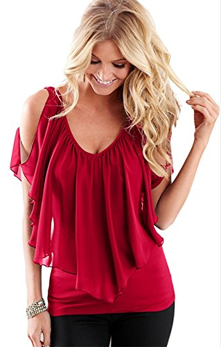 Womens Sexy Summer V Neck Cold Shoulder Club Shirt Tops (Red,S)