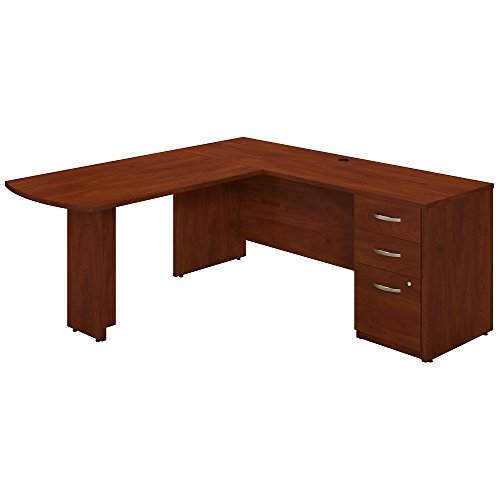 Bush Business Furniture 72W x 24D Desk with Peninsula Return and 3 Drawer Pedestal in Hansen Cherry