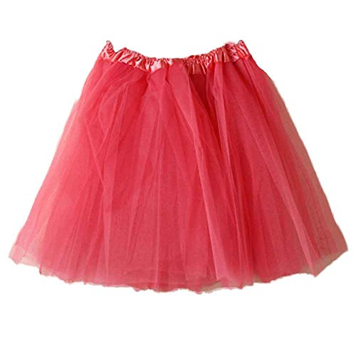 POachers Jupe Femme Courte 11 Couleurs Pettiskirt D'lastique Mini Robe Tulle Tutu Petticoat Style annes 50 Rockabilly Pastque Rouge