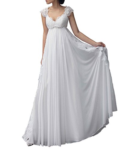 Lovelybride 2016 Empire Cap Sleeve Long Chiffon Lace Maternity Wedding Dress