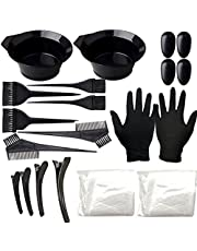 Hårfärgningsmedel Kit Hair Tinting Set Coloring Blekning Bowl Brush Ear Cover Handskar för DIY Fashion Hair Dye Black 22PCS, hårfärgningsmedel Tools
