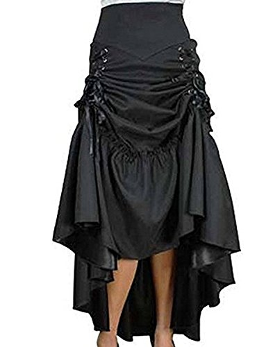 Kimikal Gothic Steampunk Long Sateen Corset Skirt (Large (Waist 30.7 inches), Black) -