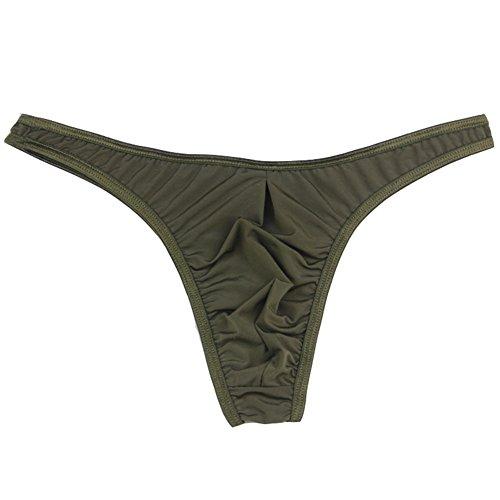 WenMei Men's Milk Silk Sexy G-String Thin Thin Belt Thongs Underwear (Army Green)