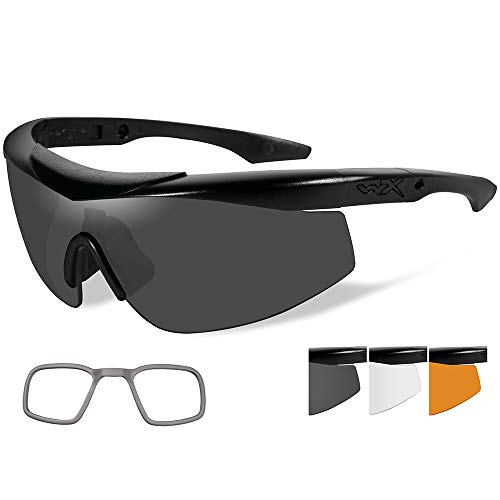 Lenses X Wiley Prescription (Wiley X Talon Sunglasses - Smoke Grey/Clear/Rust Lens - Matte Black Frame w/Rx Insert)