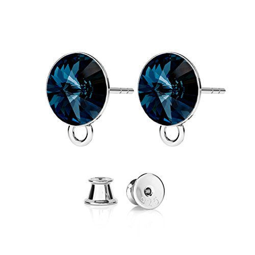 - GIORRE New Rivoli Earrings For Charms, Swarovski ¤ Fine Sterling Silver 925 CRYSTAL : Montana | SILVER : White Rhodium Plating