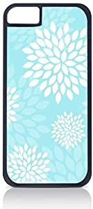 Aqua Flower Blooms- Case for the Apple Iphone 4-4s Universal-Hard Black Plastic Outer Shell with Inner Soft Black Rubber Lining hjbrhga1544