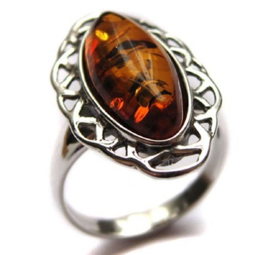 Honey Amber and Sterling Silver Classic Ring