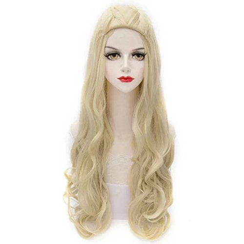 31 Inches/ 80CM Light Blonde Long Curly Cosplay Lolita Stylish Women Wig + Wig Cap]()